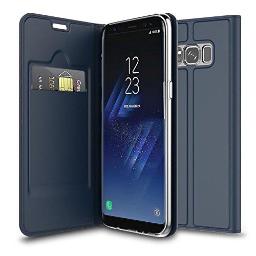 Verco Handyhülle für Galaxy S8, Premium Handy Flip Cover für Samsung Galaxy S8 Hülle [integr. Magnet] Book Hülle PU Leder Tasche, Blau
