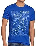 style3 Virtual Boy Cianotipo Camiseta para Hombre T-Shirt 32-bit videoconsola, Talla:L, Color:Azul