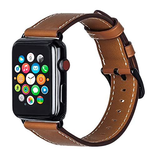 ALADRS Wristband Compatible with Genuine Leather Apple Watch Band, Replacement Straps for iWatch Series 5/4 (44mm) Series 3/2/1 (42mm), Women and Men