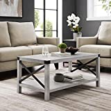 Walker Edison Rustic Modern Farmhouse Metal and Wood Rectangle Accent Coffee Table Living Room Ottoman Storage Shelf, 40 Inch, Stone Grey