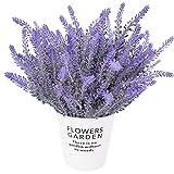CattleyaHQ Flores de Lavanda Artificial 4 Piezas,Plantas Artificiales Vivas para La Sala de Bodas,Decoración de Patio de Jardín-Púrpura