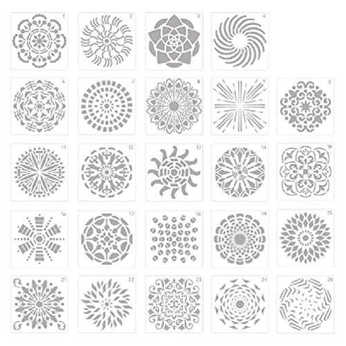 Juego de 24 plantillas de dibujo de mandala, estampadas, relieve, scrapbooking, manualidades de colores