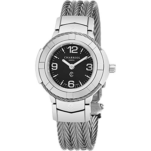 Charriol Celtic Womens Fashion Watch - 26mm Black Face with Luminous Hands and Sapphire Crystal - Stainless Steel Cable Band Swiss Made Quartz Ladies Watch CE426S.640.003