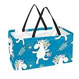 Bolsa de comestibles reutilizable grande, resistente bolsa de compras con parte inferior reforzada y asa (estampado de unicornio de dibujos animados)