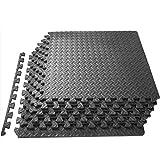 ジョイントマット エクササイズ/トレーニング用 EVA 60X60X1.2CM 防振 防音マット 大判 キズ防止 振動吸収 高硬度 床保護 トレーニング器具用マット サイドパーツ付 (6枚セット、ブラック)