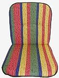 Sitzkissen für Niederlehner bemustert mit Längstreifen in rot, gelb, blau und grün