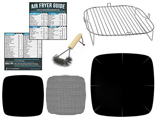 Air Fryer Accessories Compatible with Best Choice Products, ChefWave, Ergo Chef, Master Culinary, Sarki, Gourmia, Instant Pot +More | Airfryer Rack Accessory with Cooking Reference Guides