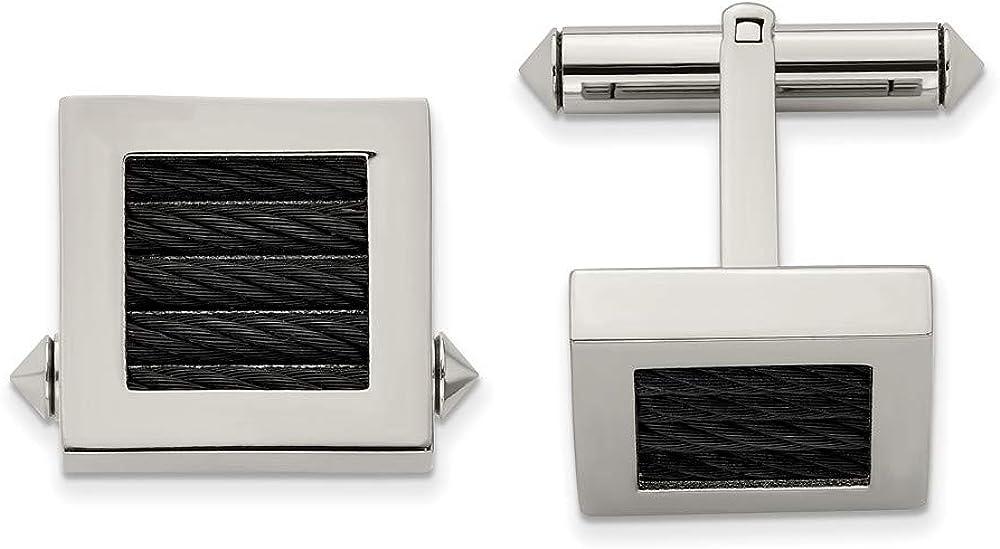 Sonia Jewels Titanium Black IP-Plated Wire Cufflinks