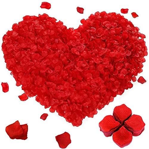 2000 Stück Rosenblüten Künstliche Rosenblätter Gefälschte Rot Rosen Blätter Blüten Künstlich Seidenblumen Dekoration für Romantische Atmosphäre und Hochzeit Party, Valentinstag Deko, Geburt, Taufe