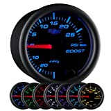 GlowShift Black 7 Color 30 PSI Turbo Boost/Vacuum Gauge Kit - Includes Mechanical Hose & T...