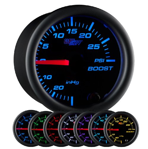 GlowShift Black 7 Color 30 PSI Turbo Boost / Vacuum Gauge Kit - Includes Mechanical Hose & T-Fitting - Black Dial - Clear Lens - for Car & Truck - 2-1/16' 52mm