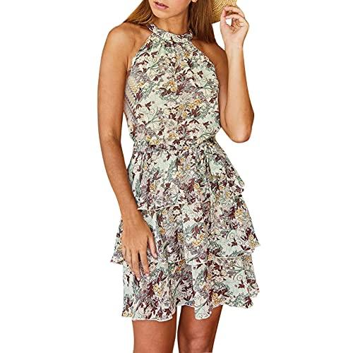 Jiaermei Vestido estampado casual vintage bohemio delgado algodón lino moda vestido largo verano noche fiesta