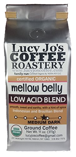 Lucy Jo's Coffee, Organic Mellow Belly Low Acid Blend, Ground, 11 oz (11 OZ)