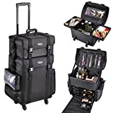 Byootique Classic Black 2in1 Soft Sided Rolling Makeup Case Freelance Makeup Artist Cosmetic Organize Storage Travel Train Case