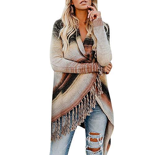 VEMOW Heißer Herbst Damen Frauen Plus Größe Patchwork Langarm Quaste Gradienten Fringe Casual Täglichen Freizeit Cardigan Tops Pullover Mantel(Kaffee, 44 DE/L CN)
