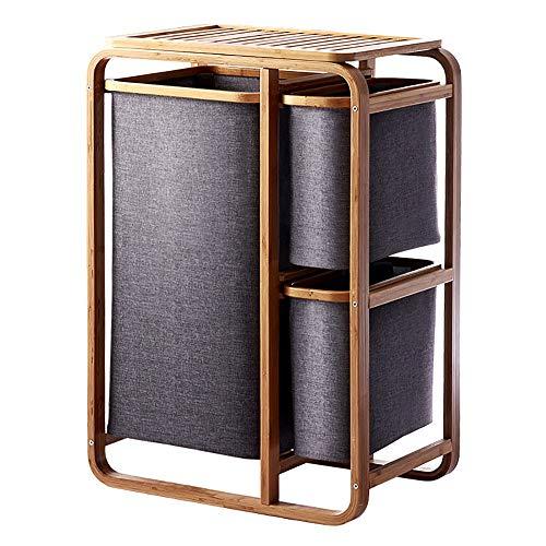 Waskorf wasverzamelaar wassorteerder van bamboe h x b x d: ca. 49 x 33 x 69,5 cm wasmand met 3 vakken als opbergruimte als praktische wasmand van wasbaar linnen voor