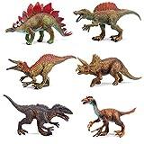 ARCADORA Dinosaur Toys for Kids, 6-Pack Dinosaur Figure Realistic Dinosaur for Kids Toddler Education, T-Rex Dinosaurs Stegosaurus Monoclonius Included, Boys Girls Christmas Birthday Gifts