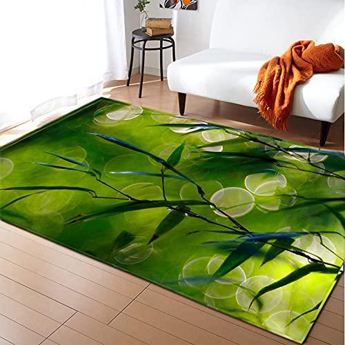 Alfombra Para Salón - Hojas De Bambú Verde 3D Print Square Carpet...