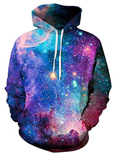 ALISISTER 3D Galaxis Hoodie Kapuzenpullover Herren Damen Lustig Grafik Pullover Hoodys Beiläufig Langarm Kapuzen-Sweatshirt mit Fleece-Futter S