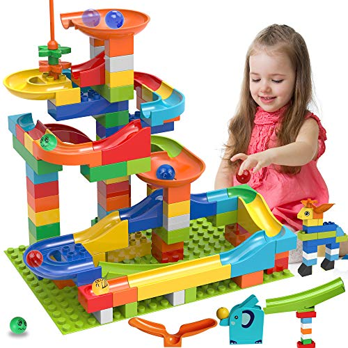 COUOMOXA Marble Run Building Blocks Classic Big Blocks STEM Toy Bricks Set Kids Race Track Compatible with All Major Brands 110 PCS Various Track Models for Boys Girls Toddler Age 3,4,5,6,7,8+