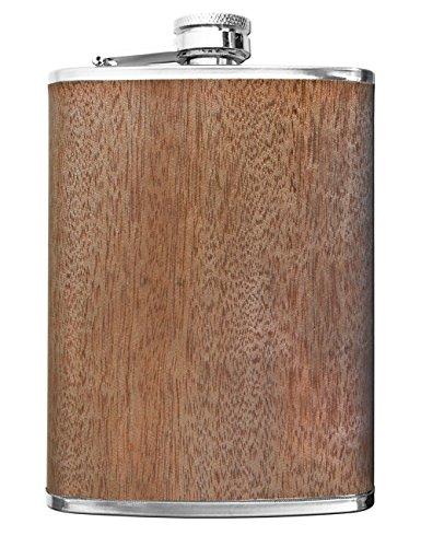 Outdoor Saxx® - Edelstahl Flachmann Wood, hochwertige Taschen-Flasche, Schnaps-Flasche in Holz-Optik, Schraub-Verschluss, Tolle Geschenk-Idee, 260ml, Holz-Design Eiche