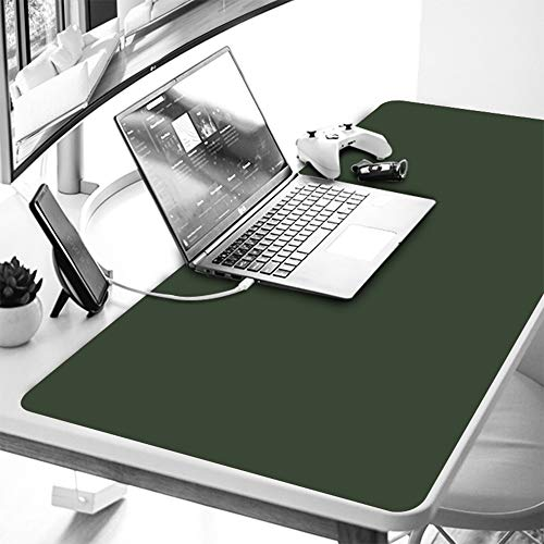 """YAPISHI Office Desk Pad Protector Leather Gaming Mouse Pad Dual-Side Use Desktop Writing Blotter Mat Cover for PC Laptop Keyboard, Non-Slip Waterproof 35.5x17.6x0.05"""" Ultrathin (Blue & Grey)"""