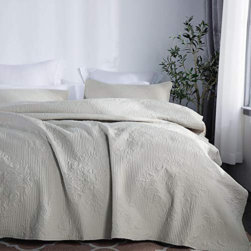 jinchan Bedspread Coverlet Set Comforter Embossed Medallion Damask Lightweight Microfiber Year Round Quilt Set Bedding, Queen Size, Taupe