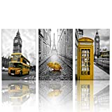 Biuteawal - 3 Panel City Wall Art Paris Eiffel Tower Picture Prints London Big Ben with Telephone Booth Landscape Painting on Canvas Black and Yellow Artwork for Home Decor