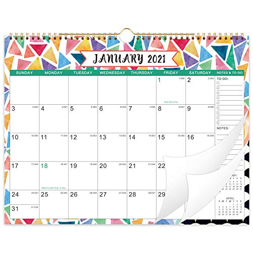 """2021 Calendar - 2021 Monthly Wall Calendar with Julian Dates, 14.8"""" x 11.6"""", Jan 2021 - Dec 2021, Twin-Wire Binding, Hanging Loop, Blank Blocks, Thick Paper, Colorful Decorations for your life"""