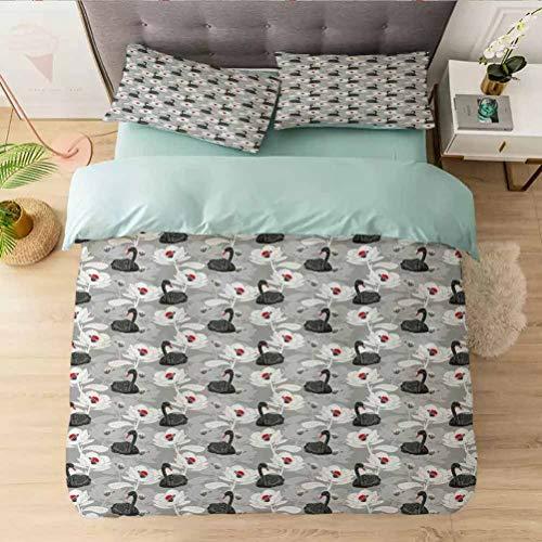 Aishare Store - Set copripiumino per letto king e laghetto artistico con grandi fiori fiorenti e cigno nero, 3 pezzi decorativi con 2 federe