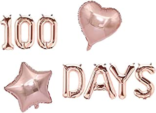 AnnoDeel 100 DAYS Foil Balloons Banner, 18inch Rose Gold 100 Days Mylar Balloons for Happy Themed Baby Shower Wedding Part...
