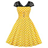 KILLREAL Women's Vintage Polka Dots Floral Lace Button Up Cap Sleeve A-Line Rockabilly Prom Swing Dress Yellow/White Large