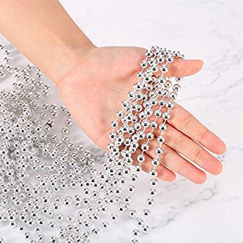 U-House 31 Feet Christmas Beaded Garland Shiny Beads Strand for Christmas Tree, Valentine, Exhibition, Wedding, Costume, DIY Decoration (Silver-31ft)