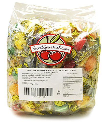 Sweetgourmet Primrose Hard Candy Assorted Filled Honey Queen Bees, 2.5 Lb