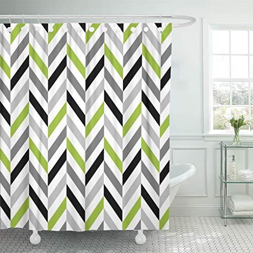 "Semtomn Shower Curtain Pattern Modern Lime Green Gray Black Herringbone Geometric Grey 72""x72"" Home Decor Waterproof Bath Bathroom Curtains Set with Hooks"