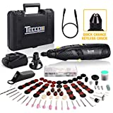 Cordless Rotary Tool, TECCPO 12V Powerful Rotary Tool Kit, 1-Hour Fast Charger, Universal Keyless Chuck, 6-Speeds Adjustable, 80 Accessories, Perfect Gift for DIY & Crafts, Cutting, Engraving, etc.