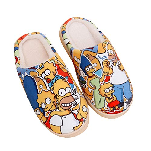 SFHK Unisexo Invierno Zapatillas Mantener Caliente Dibujos Animados Simpson Impresión Ante Casa Algodón Antideslizante Zapatos Pareja Interior/Al Aire Libre Zapatilla