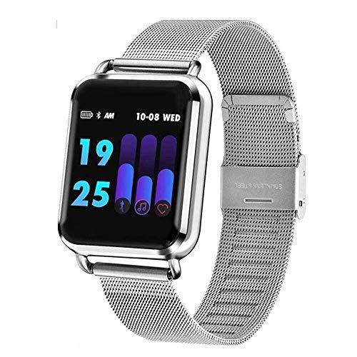 Meyey Smartwatch, Android, dynamisch, bloedzuurstof, bloeddruk, hartslag, slaap, fitness tracker, smartwatch, mannen en vrouwen, Smart Wear, voor Smart Armband iOS (kleur: goudkleurig staal), Zilver staal