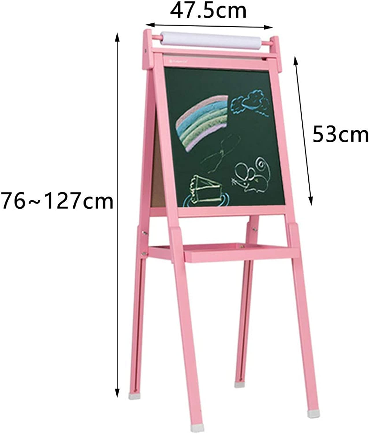 JZX Wooden Drawing Board, Double-Sided Magnetic Flip Chart Display Stand