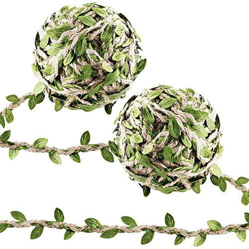 Supla 2 Rolls 100' Long Fake Green Leaves Ivy Leaves Artificial Greenery Vines Hanging Leaf Foliage Vine Hemp Rope Green Leaves Ribbon Green Leaf Trims Green Leaf Vine Ribbon for Scrapbooking