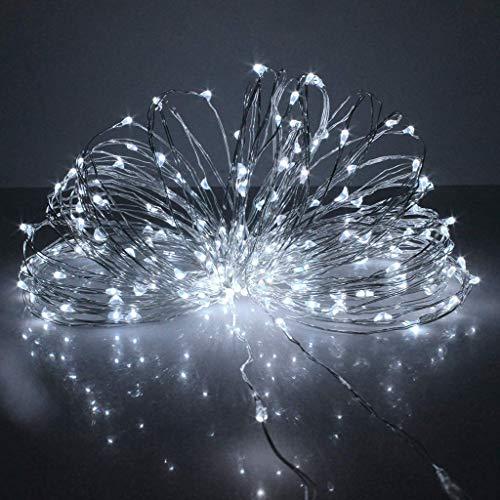 JIANMIN Decoración para el hogar Control remoto USB 8 funciones 20 m 200 LED de alambre de cobre, cadena de luz para Navidad, hogar, cocina, TV, barra de hielo decoración (amarillo) (color: blanco)