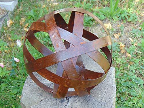 Edelrost Kugel D: 24 cm 6 Streben Rost Metallkugel Rostkugel Metall