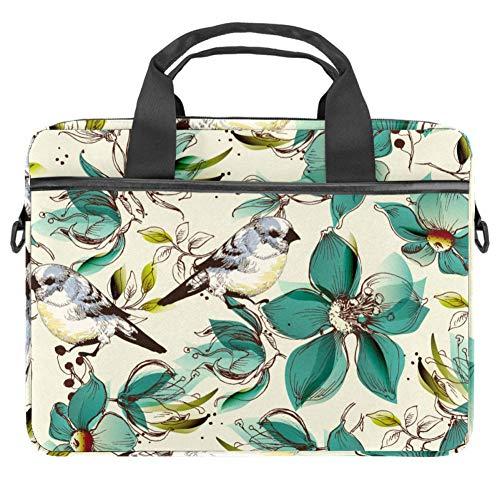 Laptop-Umhängetasche 38,1 cm Aktentasche Dokumententasche Messenger Bag mit Griff & Schultergurt Elster Vogel Blume