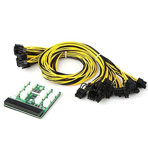 ZUQIEE Placa de Circuito Minería Fuente de alimentación de 12V GPU/PSU Breakout Board + 12pcs 16 AWG PCI-E 6 Clavijas a 6 + 2 Pines Conectores Cables