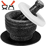Tera Mortar and Pestle Set Granite Double Ended, 2 Cup-Capacity, Polished Natural Mortar and Pestle...