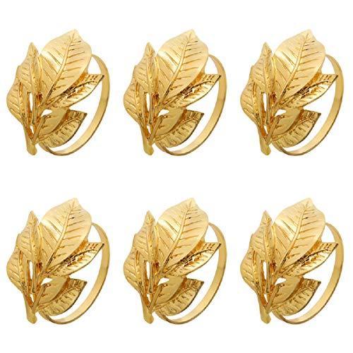 Yalulu 6 Stück Serviettenringe Set, Metal Gold Blätter Serviettenhalter für Hochzeit Taufe Geburtstag Kommunion Graduierung Weihnachten Taufe Tisch Dekoration