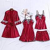 NHMDE Pijama De Satén para Mujer,Fashion Lady Sexy 4 Pijamas Elegantes Shorts Retro Kimono Satin Silk Pijamas Set Robe Casual Encaje Patchwork Simple Vino Rojo Cómodo Tirantes, XXL