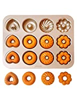 CHEFMADE ドーナツ型 カップケーキ型 12ヶ取 多種類デザイン 粘りにくいケーキ型 (四種類)