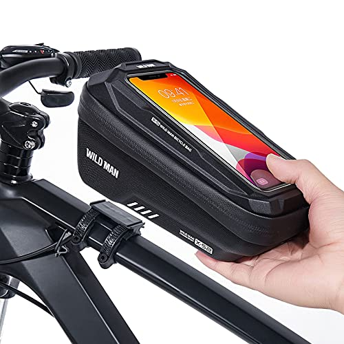 Bolsa de marco para bicicleta con soporte para tubo superior de bicicleta, impermeable, soporte para teléfono celular, con ventana de pantalla