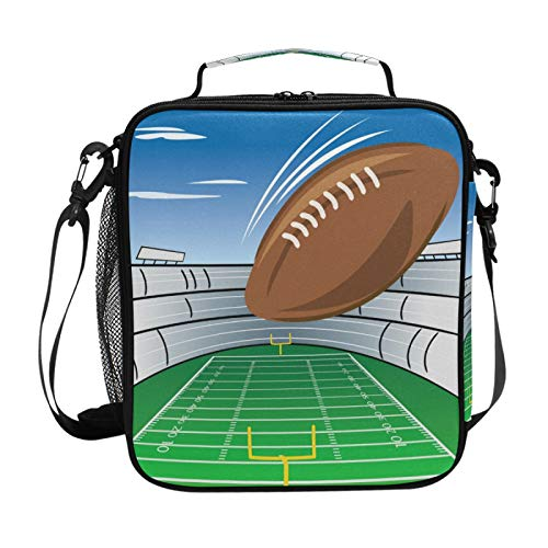Kinder-Lunchbox-Tasche, Fußballfeld und Stadion, wiederverwendbar, isoliert, Lunch-Tasche für Kinder, Jungen, Mädchen, mit abnehmbarem Schultergurt